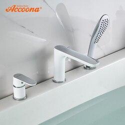 Accoona смеситель для ванны Водопад смеситель для ванны на бортике Ванна раздельный корпус смеситель для ванной комнаты Robinet Baig A6519