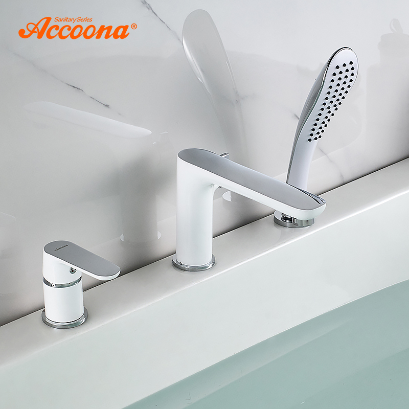 Accoona, grifo de bañera, grifo de cascada, bañera, mezclador, bañera montada en cubierta, cuerpo dividido, grifos de baño, mezclador Robinet Baig A6519