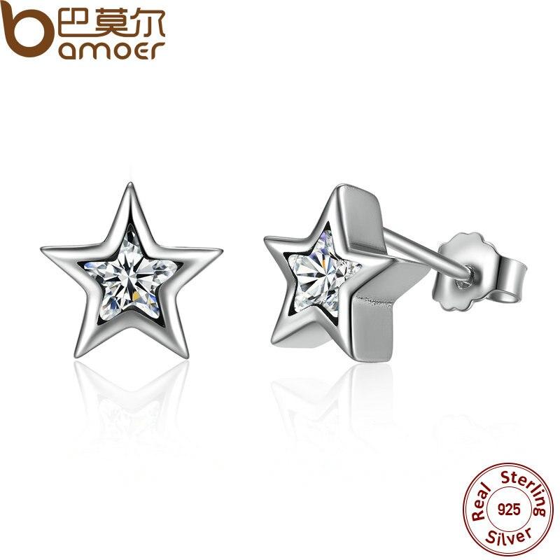 BAMOER Starshine claro CZ Estrella de plata esterlina 925 de presión mujeres Stud-Stud de Pendientes de joyería Brincos Pendientes de botón Pendientes Mujer PAS436