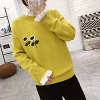 Sun flower embroidery lace patchwork pullover sweater mori girl 2018 autumn winter