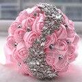 De lujo de Cristal Broche Ramo de La Boda Blanca Accesorios de dama de Honor Ramo de La Boda Artificial flores de la boda ramos de novia