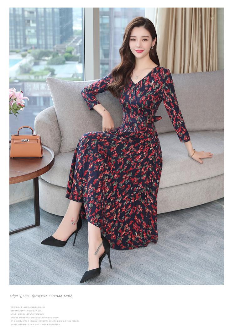 Autumn Winter New 3XL Plus Size Vintage Midi Dresses 2018 Women Elegant Bodycon Floral Dress Party Long Sleeve Runway Vestidos 25