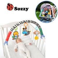 Sozzy Baby Crib Mobile Stroller Hanging Soft Zebra Monkey Plush Stuffed Hanging Rattles Ring Bell Toy for Newborn Baby Gift
