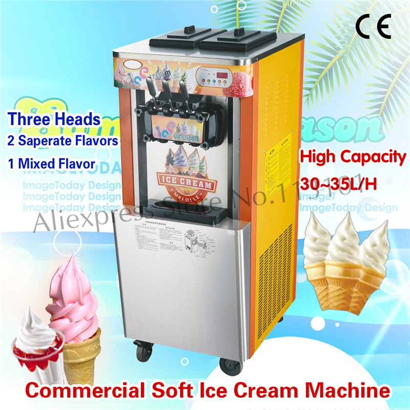 Floor Standing Soft Ice Cream Machine Sundae Maker Soft Serve Machine Three Heads Capacity 32~35 liters/H for Street Snack Food
