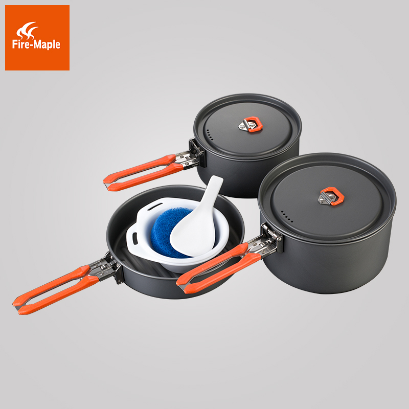 Fire Maple Feast 3 Outdoor Camping Hiking Folding Cookware Backpacking Cooking Picnic Pot Pan Bowls Set FMC-F3 fire maple pots set outdoor camping foldable cooking cookware aluminum alloy for 2 3 persons fmc 208
