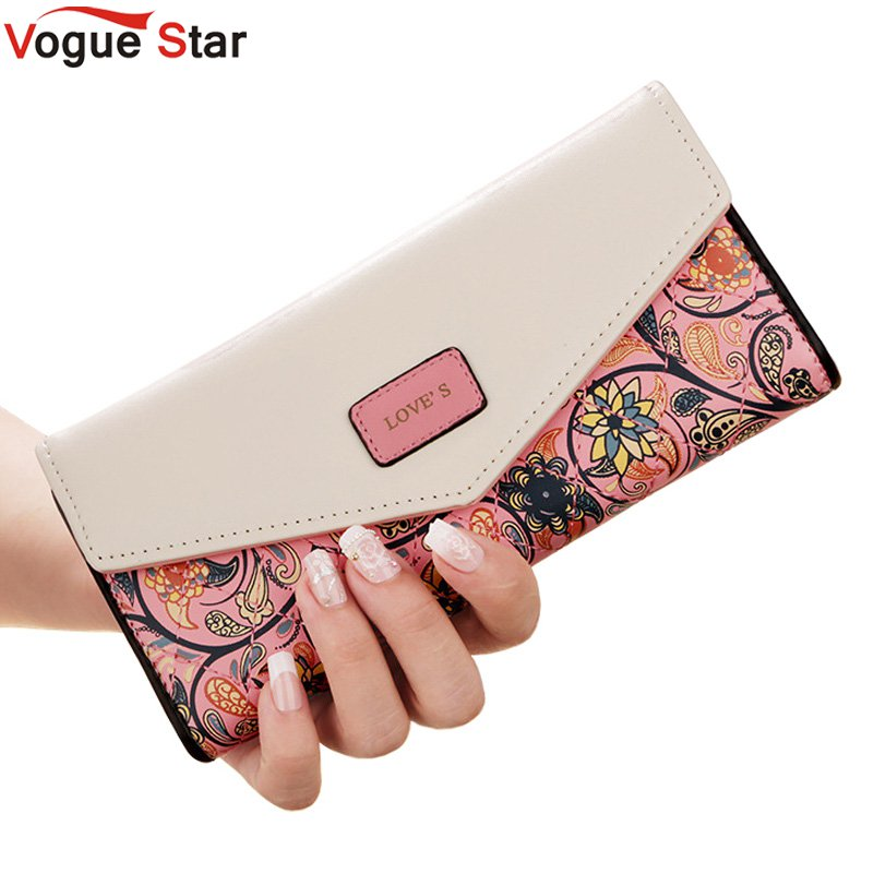 цены New Fashion Flowers Envelope Women Wallet Hot Sale Long Leather Wallets Popular Change Purse Casual Ladies Cash Purse LB227