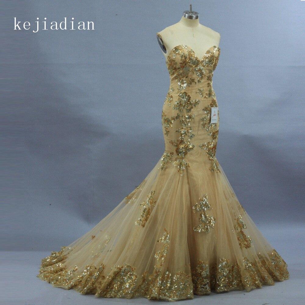White Wedding Gown Gold: Vintage 2019 Gold Wedding Dress Mermaid Real Poto White