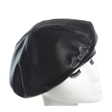 Hat for women water wash leather PU Beret hat 2018 New Winter Womens Flat Top Hats French Style Painters