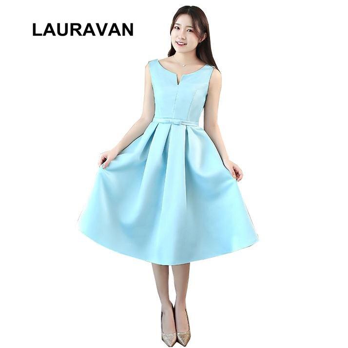 formal light sky blue women short elegant   bridesmaids     dresses   satin v neck bridemaid tea party   dress   for wedding free shipping