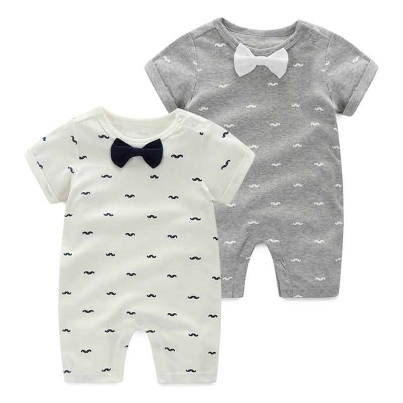 Fashion 2017 baby boy clothing tie style gentleman short sleeve baby rompers for summer baby boy