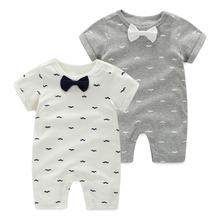 Fashion 2018 baby boy clothing tie style gentleman short sleeve baby rompers for summer baby boy