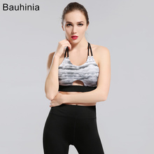 Bauhinia outdoor sports bra running fitness yoga Cross Strap Women Padded Push Up Sports Bra Quick Dry Fitted Gym Workout Fitnes