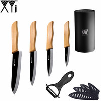 Bamboo Handle Ceramic Knife XYJ Brand Practical 3 4 5 6 Kitchen Knife 8 Black Knife