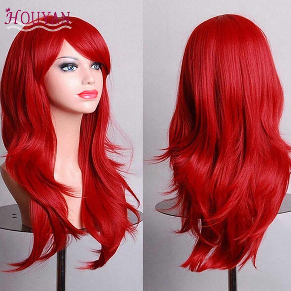 Huyan 26 дюймов длинные волнистые синтетические парики для черных женщин косплей парик блонд синий красный розовый серый фиолетовый волосы для человеческих Вечерние