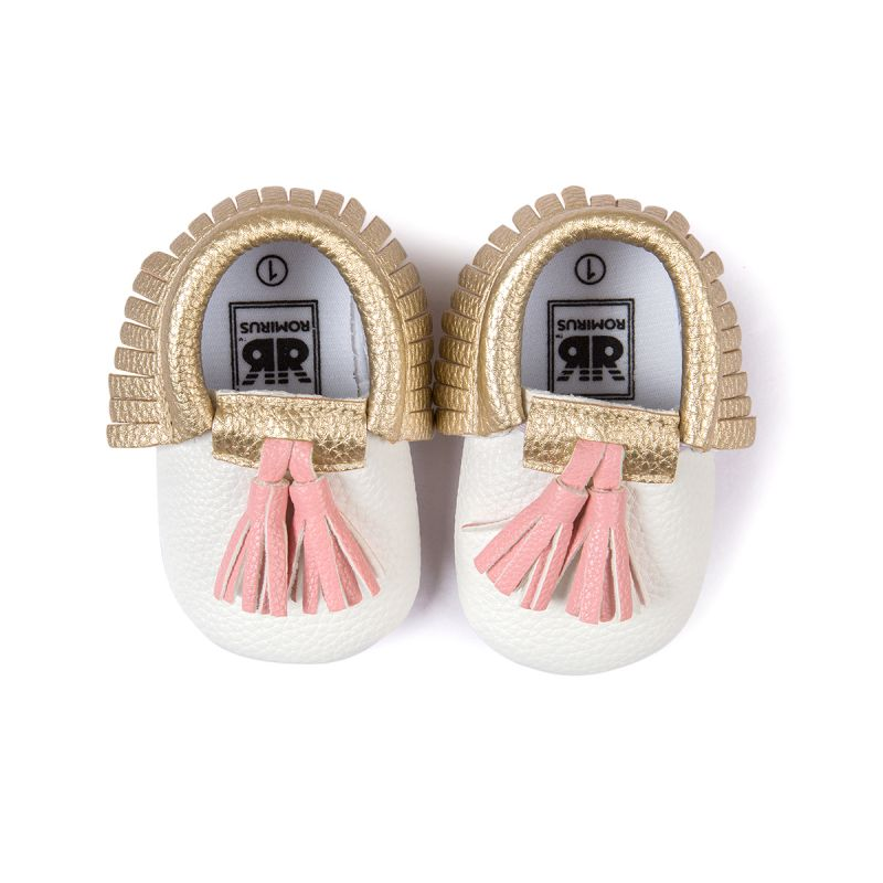 Baby Moccasins Shoes Prewalkers Baby PU Leather Tassel Soft Girls Bow Moccs Moccasin Bow First Walkers