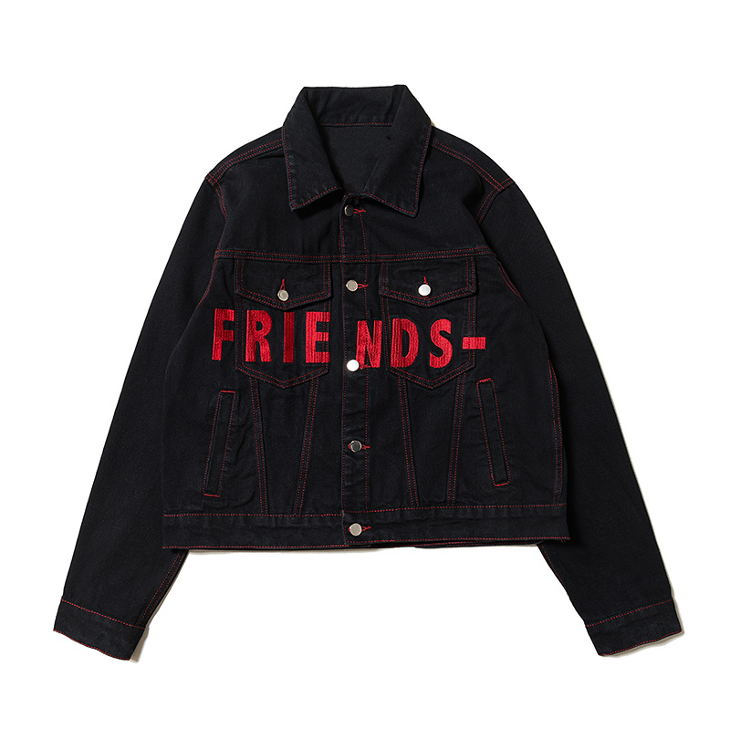 Vestes F 2018 jaune Broderie Femmes rouge Hiphop Jeans Amis w Denim Hommes Noir Veste pourpre vert Xieruis bleu Manteau Collection zzxwRr