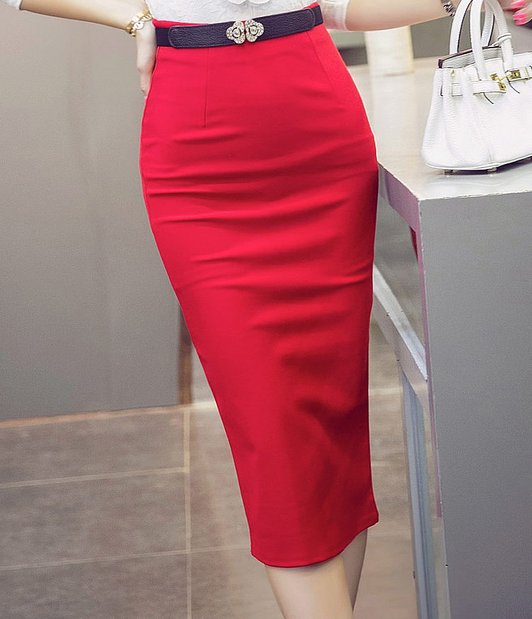 3bb19a4dba16c TingYiLi High Waist Black Red Long Pencil Skirt Office Ladies Maxi Formal  Skirt Elegant Women Long Skirts Slit Plus Size-in Skirts from Women s  Clothing on ...