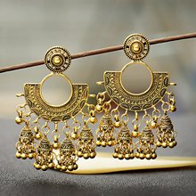 TopHanqi 2019 Antique Bohemia Gypsy Tribal Indian Drop Earrings for Women Gold Metal Bells Tassel Earring boucle doreille