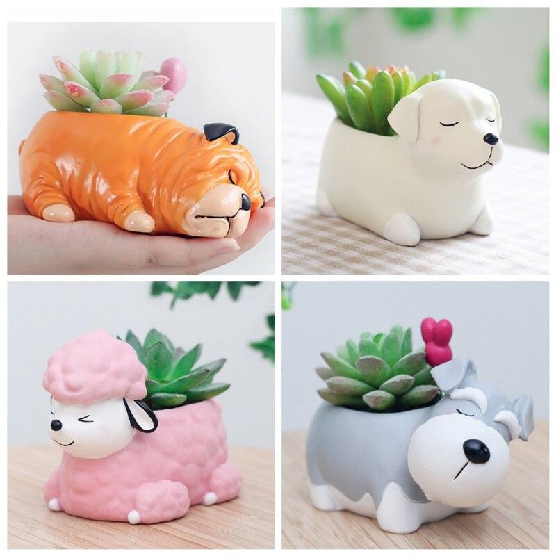 2018 NewestPuppy Resin Planter for Succulents Cute Corgi Mini Flowerpot Desktop Pot Jardin Bonsai Flower Planter Flowerpot