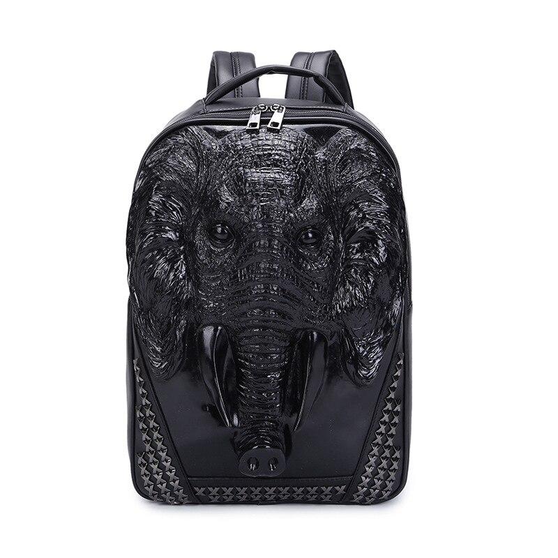 Animal Mode Voyage Sacs Portable Hommes Cuir En Black gold X silver Ordinateur Cool Sac Rivet À Pouce Dos Éléphant 6 15 De Aq8wax