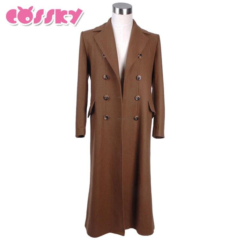 Daktaras, kuris rudos ilgos tranšėjos paltai, vilnonės spalvos, Helovinas, kostiumas, kostiumas, kostiumas, apranga