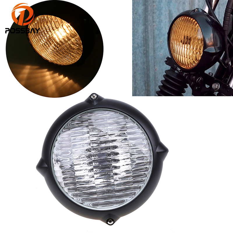 POSSBAY 7 Universal Custom Motorcycle Headlights Headlamp High Low Beam Amber Lights Cafe Racer For Harley Touring Dyna 883 KTM