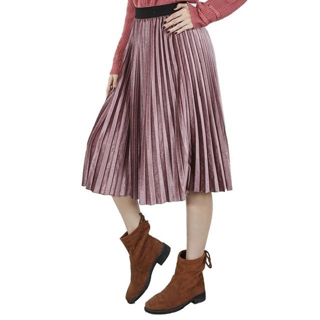 Ladies Vintage Autumn Winter Women Velvet Skirt High Waisted Elegant Sexy Skinny Black Pleated Skirts Female Maxi Skirts Womens 3