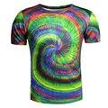 Redemoinho colorido 3D T Camisa Homens/Mulheres Camiseta Homme 2017 Marca Manga curta Streetwear Camisas Dos Homens T Slim Fit O Pescoço Camisetas