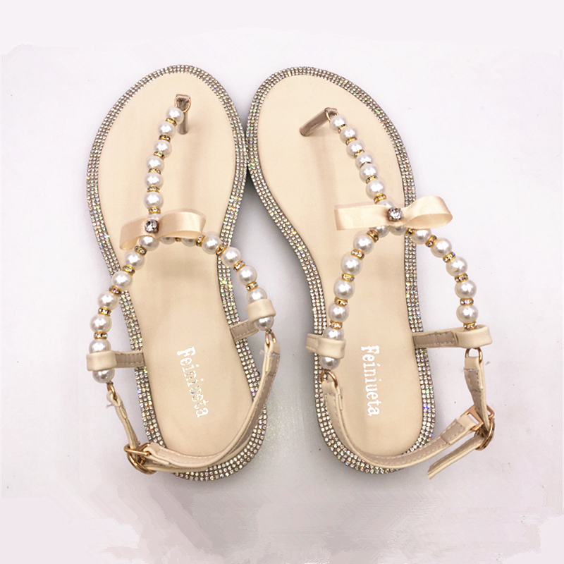 35579d39c1d6f9 Brand women s sandals 2017 summer beaded stone pearl female sandals Rome  flat sandwich toe women s sandals flat wedding shoes-in Women s Sandals  from Shoes ...