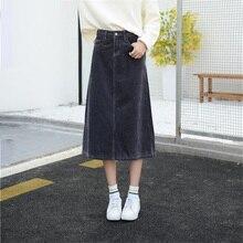 משלוח חינם 2019 חדש אביב סתיו נשים של קורדרוי חצאית בנות אונליין אמצע עגל אורך G Slim חצאית גדול בתוספת גודל 26 40