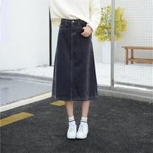 Free Shipping 2019 New Spring Autumn Womens Corduroy Skirt Girls A line Mid Calf Length G Slim Skirt Large Plus Size 26 40