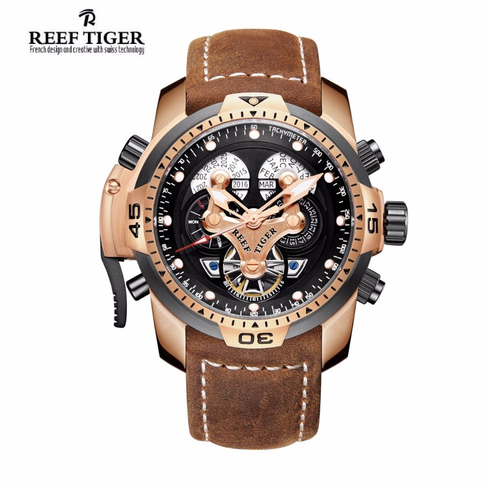 цены Men Watches Reef Tiger Brand Automatic Mechanical Waterproof Wrist watch Perpetual Calendar leather Watch man relogio masculino