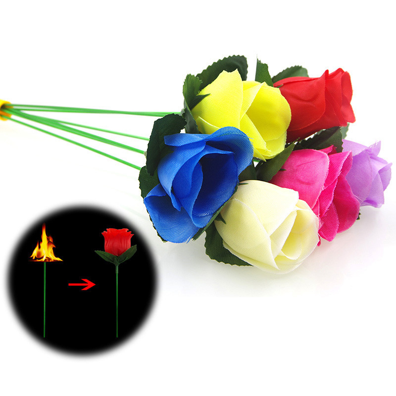 Magic Trick Props Romantic Rose Stage Close Up Magic Trick 25.5CM Torch To Rose Tricks Popular Fire Flame Appearing Flower
