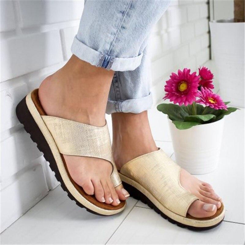 Women PU Leather Shoes Comfy Platform Flat Sole Ladies Casual Soft Big Toe Foot Correction Sandals Orthopedic Bunion Corrector
