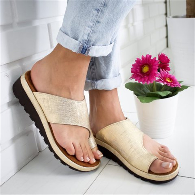 Women PU Leather Shoes Comfy Platform Flat Sole Ladies Casual Soft Big Toe Foot Correction Sandals Orthopedic Bunion Corrector big toe sandal