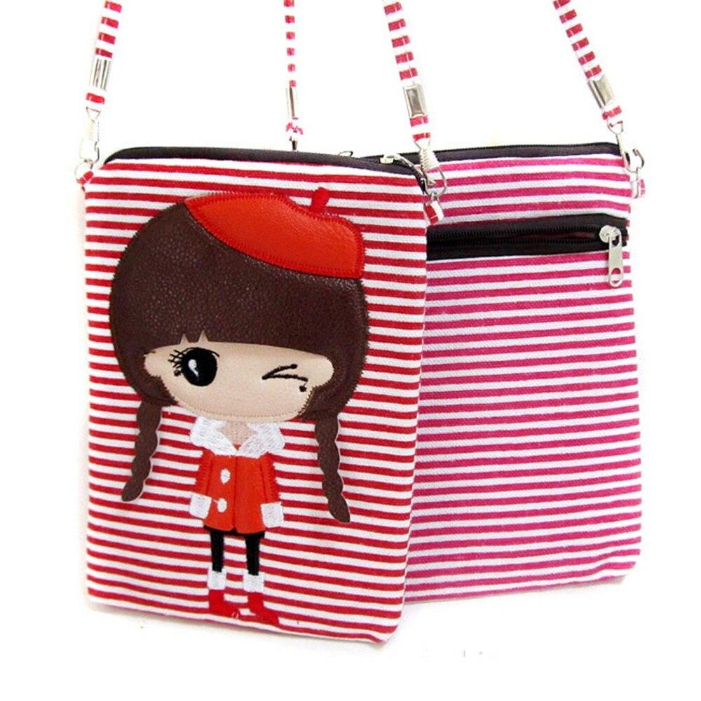 1 Pcs Fashion Vrouwen Canvas Leuke Kids Cross-body Tas Meisjes Portemonnee Telefoon Schoudertas Boodschappentas Gift