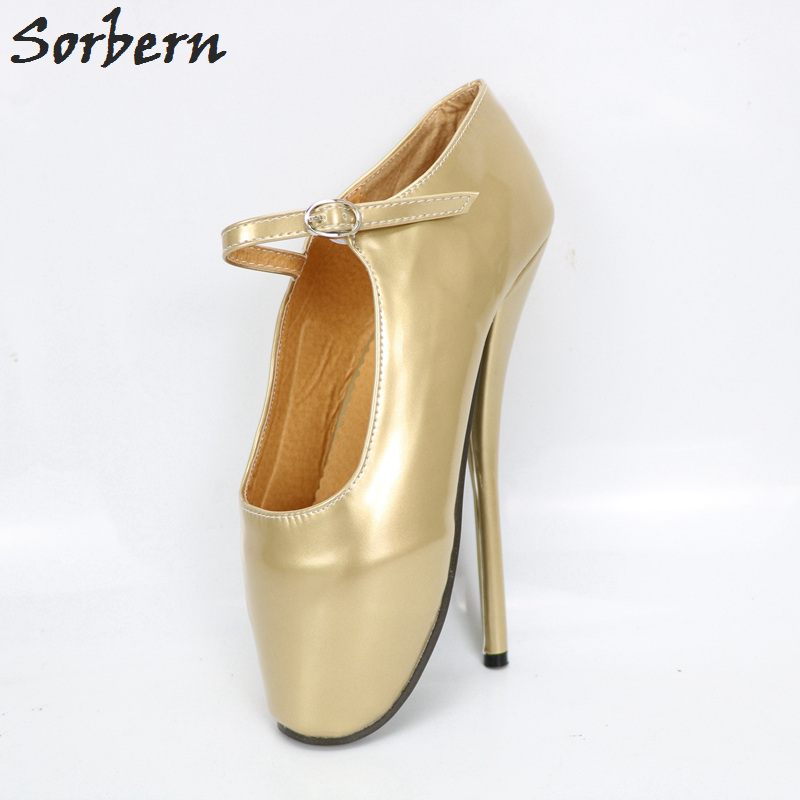 Sorbern Gold Shiny Mary Janes Pump Pata Ballet High Heels Unisex Shoes Ladies Plus Size Custom Colors Womens Shoes Sexy Heels