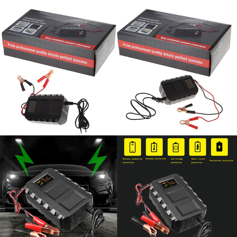OOTDTY EU/US Plug 110V-240V Intelligent 20A Automobile Battery Lead Acid Battery Charger Car Motorcycle US 47-63Hz hb 2706105 27 6v1 5a 13 9w us plug charger for lead acid battery black ac 100 240v