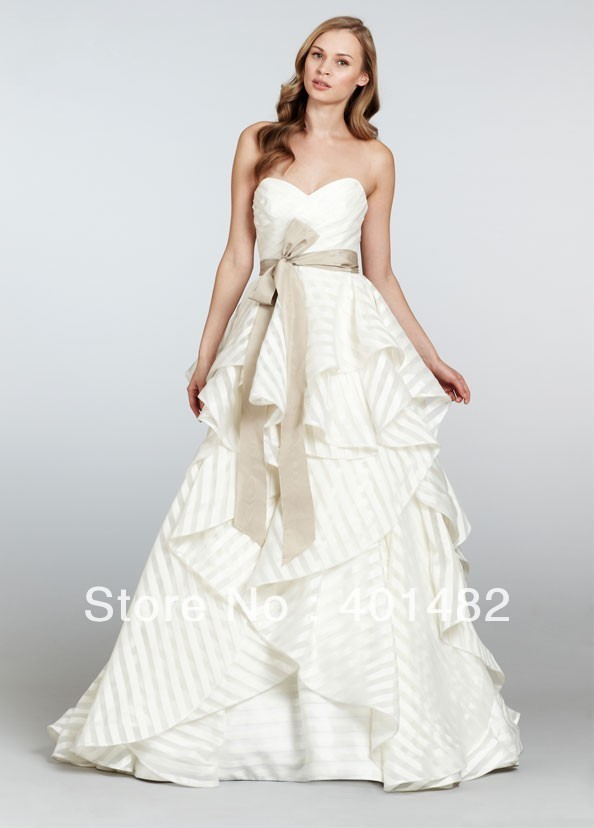 real sample vintage wedding dress sweetheart striped organza wedding gowns sweep train with sash freeshipping robe de mariage