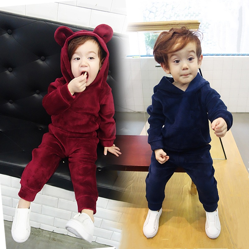 Baby Boys Clothing Set Casual Solid 2Pcs Kids Sports Suits Winter Animal Ear Hoodle Tracksuit For Girls Boys New Year Costume