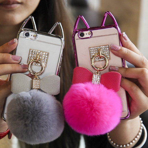 Luxury Diamond Bling Crystal Rabbit Fur Ball <font><b>Tassel</b></font> with nice plating cat ear TPU <font><b>Phone</b></font> Back Cover <font><b>Case</b></font> For iPhone7plus 6s plus