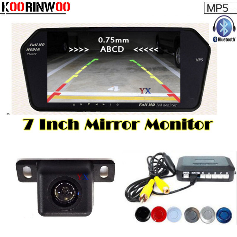Genuine Koorinwoo Car Parking Sensors 4 Car Monitor Bluetooth MP5 FM USB/SD Slot Car Rear view camera Parking Parktronic Alarm koorinwoo dual core car  parking sensors