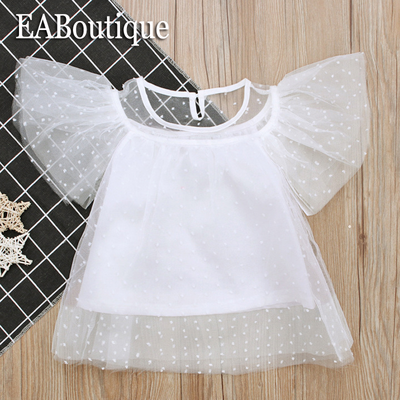 EABoutique New Summer Kids Clothes Lace Yarn Fabric Cute Dot Pattern Princess Girls Tops White Color Girls tshirt