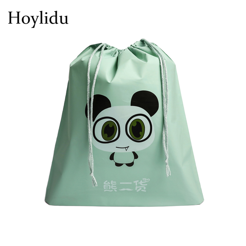 Waterproof Travel Accessories Drawstring Bags Cartoon Cute Animal Prints Women Cosmetic Shoes Clothes Toiletry Bag Wash Pouch