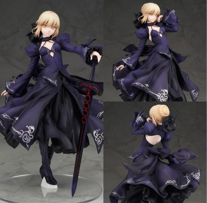 Fate Stay Night Fate Grand Order Saber Black Robe Ver. Cute Girl PVC Action Figure Resin Collection Model Toy Doll Gifts Cosplay fate stay night fate extra red saber pvc figure toy anime collection new