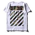 De alta calidad de off white Hombres de Camuflaje de algodón T-Shirt Hombres mujeres Negro Sarga de Algodón Hip Hop Homme camo Print Tee Shirts