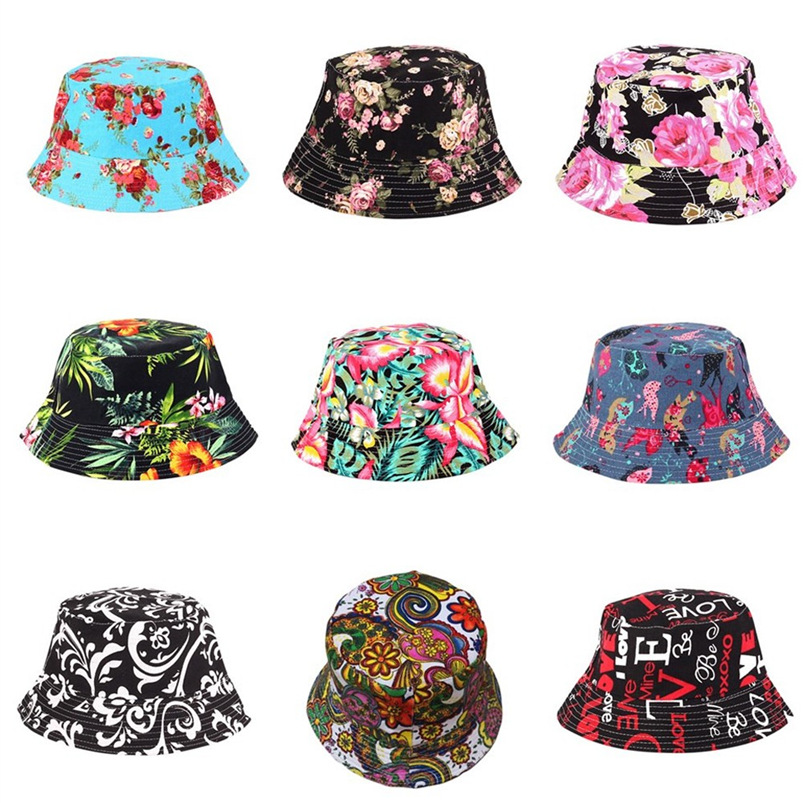 Men Women Bucket Hat Flower Print Cap 2018 Summer Colorful Flat Hat Fishing Boonie Bush Cap Outdoor Sunhat Wholesale #M11CC