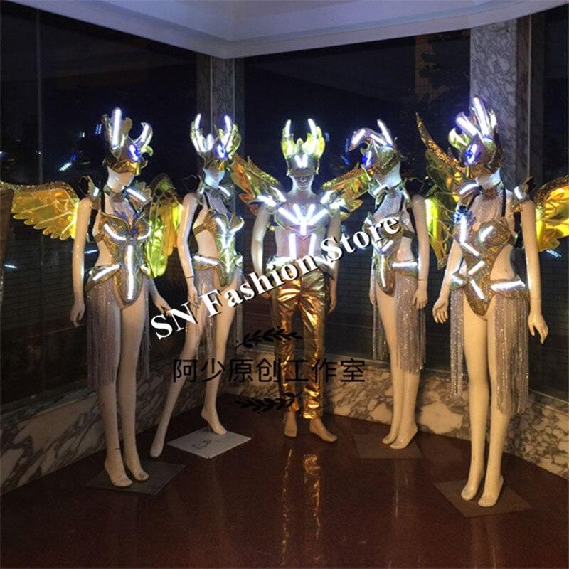 AS99 zlatý taneční sál tanec dj disco zpěvačka sexy podprsenka šaty led světla kostýmy cosplay ženy mólo látky bar párty ženy nosí
