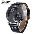 Free Shipping Cool Deign Oulm 9591 Luxury Men's Military Sport quartz Wrist Watch Leather Band Dual Movt Round Shaped