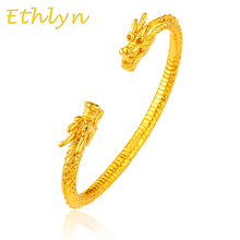 Ethlyn Cool men design jewelry Gold Color male domineering the head of  dragon Open embossing gold bracelets&bangles B1